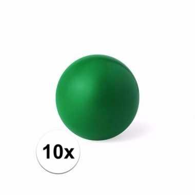 10x groen stressballetje 6 cm