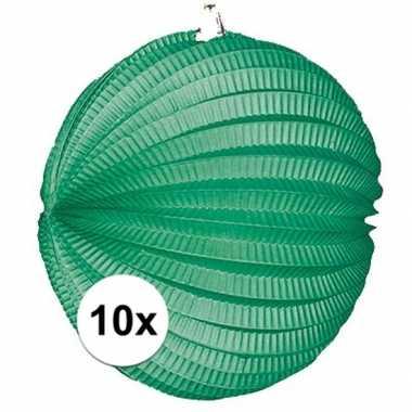 10x groene feest lampionnen 22 cm