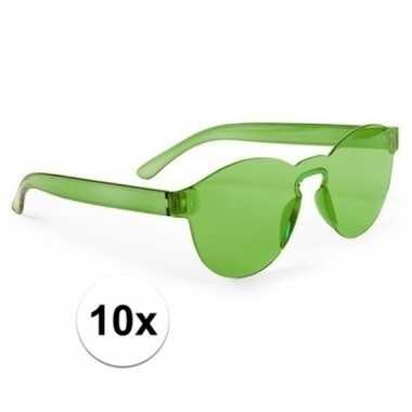 10x groene feestbril voor volwassenen