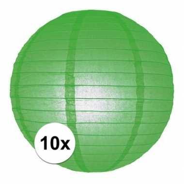 10x groene lampionnen rond 25 cm versiering feestartikelen
