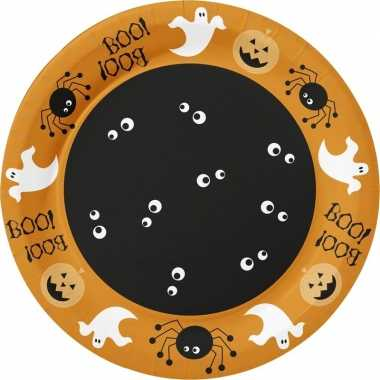 10x halloween thema borden spin/pompoen 22 cm oranje
