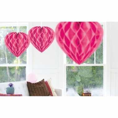 10x hang decoratie hartjes roze 30 cm