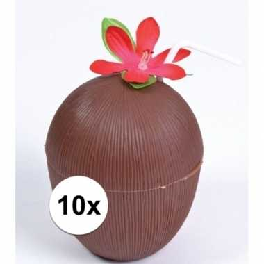 10x hawaii drinkbekers kokosnoot model