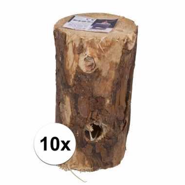 10x houtblok zweedse boom fakkel 20 cm