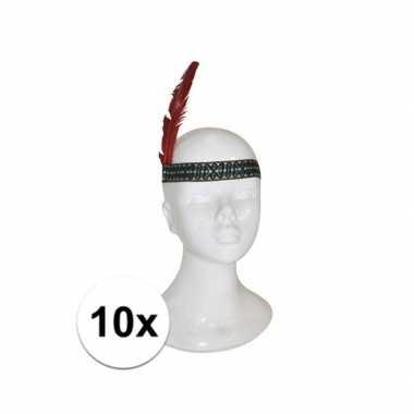10x indianen hoofdband met veer kinderen