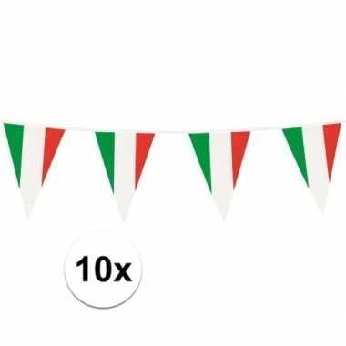 10x italiaanse vlaggetjes slinger plastic 10m