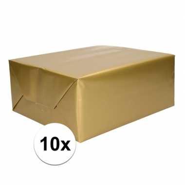 10x kadopapier gouden 70 x 200 cm
