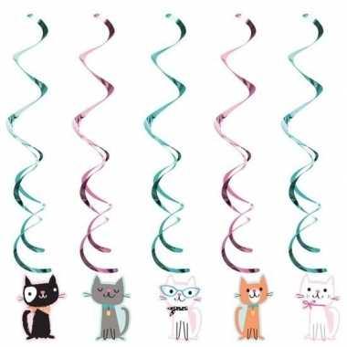 10x katten/poezen feest hangdecoratie