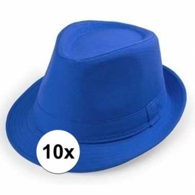 10x kobalt hoedje trilby model voor volwassenen