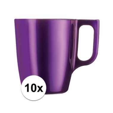 10x koffiebeker/theebeker paars 250 ml