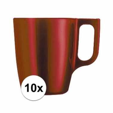10x koffiebeker/theebeker rood 250 ml