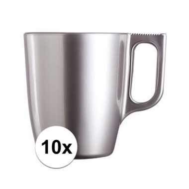 10x koffiebeker/theebeker zilver 250 ml