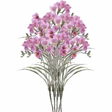 10x kunstbloemen freesia lila 63 cm