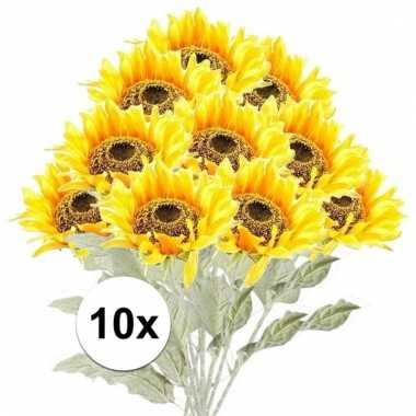 10x kunstbloemen steelbloem gele zonnenbloem 82 cm.