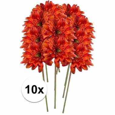 10x kunstbloemen steelbloem oranje gerbera 47 cm.