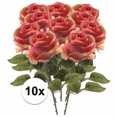 10x kunstbloemen steelbloem roze roos 45 cm