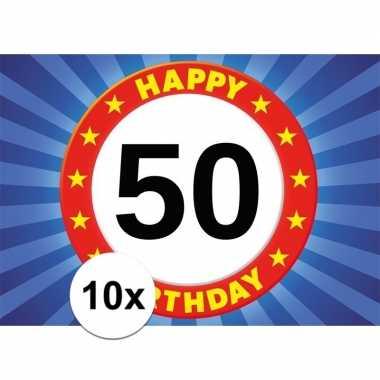 10x leeftijd stickers 50e verjaardag 50 jaar stopbord 7 x 10 cm verja