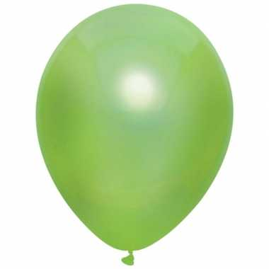10x lichtgroene metallic heliumballonnen 30 cm
