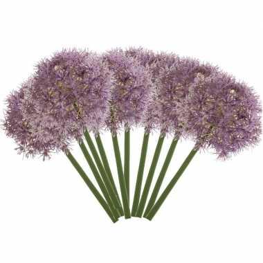 10x lila paarse kunst allium/sierui kunstbloemen 65 cm decoratie