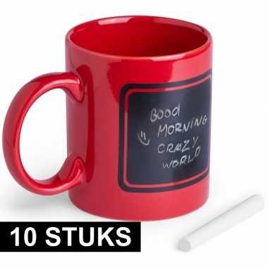 10x luxe krijt koffie mokken rood