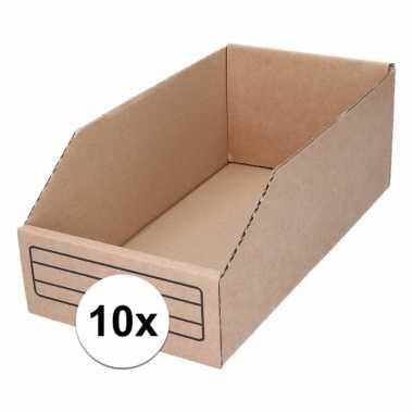 10x magazijn opslag bakjes 15 x 30 cm