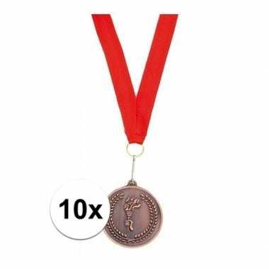 10x medailles brons derde prijs aan rood lint