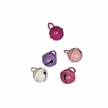 10x metalen klokjes roze mix 15 mm