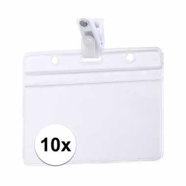 10x naamkaartjes badge houder met clipje 11,5 x 9,2 cm
