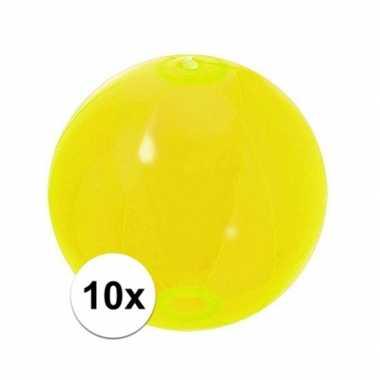 10x neon gele strandbal