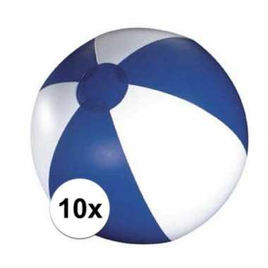 10x opblaasbare strandbal blauw/ wit