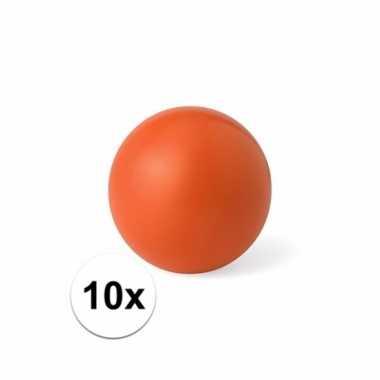 10x oranje stressballetje 6 cm