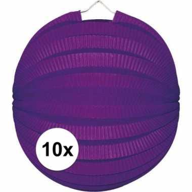 10x paarse feest lampionnen 22 cm