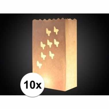 10x papieren candle bag met vlinder print 26 cm