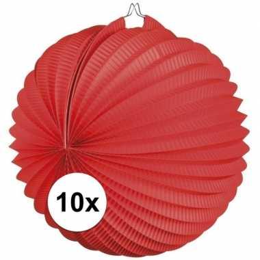 10x papieren rode lampionnen 22 cm