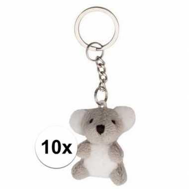 10x pluche knuffel sleutelhangers koala beertjes 6 cm