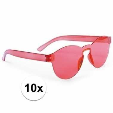 10x rode feestbril voor volwassenen