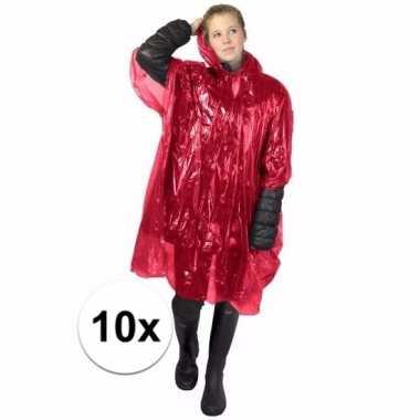10x rode noodponcho doorschijnend