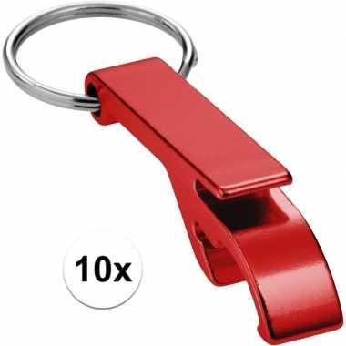 10x rode relatiegeschenk flesopener sleutelhanger rood