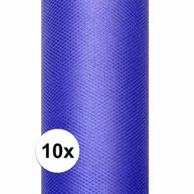 10x rollen blauwe tule stof 15 cm breed