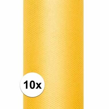 10x rollen gele tule stof 15 cm breed