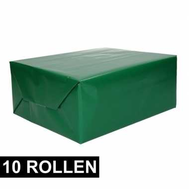 10x rollen kadopapier groene 70 x 200 cm