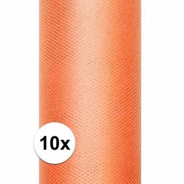 10x rollen oranje tule stof 15 cm breed