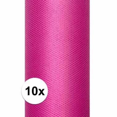 10x rollen roze tule stof 15 cm breed