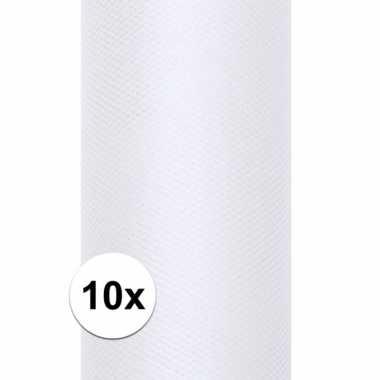 10x rollen witte tule stof 15 cm breed