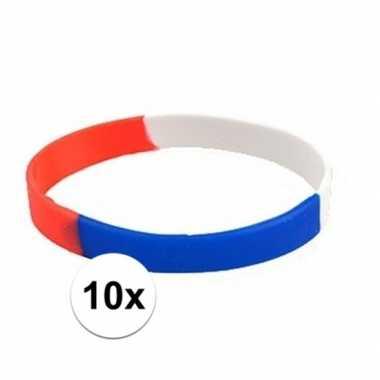 10x rood wit blauw armbandjes