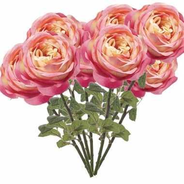 10x roze kunstroos kunstbloemen 66 cm decoratie