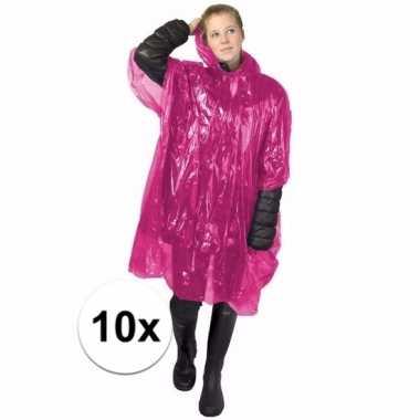 10x roze noodponcho doorschijnend