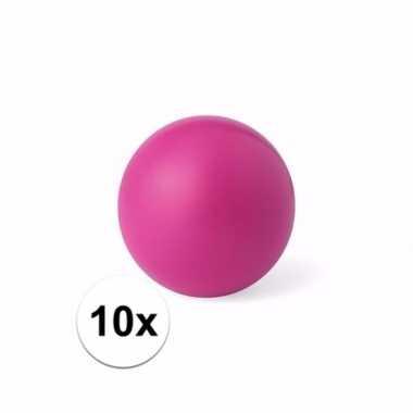 10x roze stressballetje 6 cm