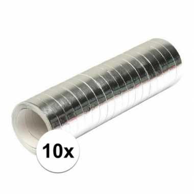 10x serpentines zilverkleurig