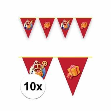 10x sinterklaas decoratie vlaggen slinger rood 6 meter